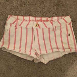 Pink and white stripped jean shorts